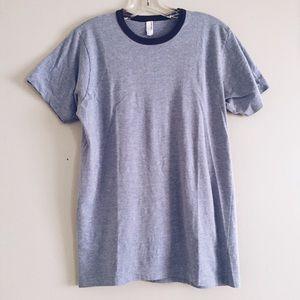 American Apparel soft blue ringer t shirt / tee